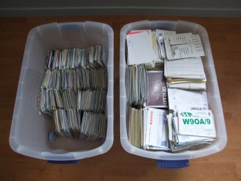 QSL cards end up in a plastic bin